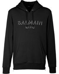 Balmain Hoodie Aus Baumwolljersey Mit 3d-druck - Schwarz