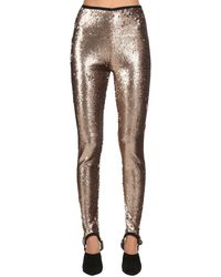 Stella Jean Sequined Stretch Stirrup Leggings - Metallic
