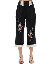 Morgan Lane Pantalones De Pijama De Satén Bordado - Negro