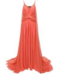 Dundas Deep Slit & V Neck Chiffon Long Dress - Pink