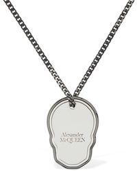 Alexander McQueen Collar Largo Con Placa De Calavera - Metálico