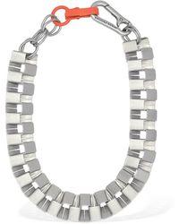 Heron Preston Cubic Chain Necklace W/ Orange Closure - Metallic