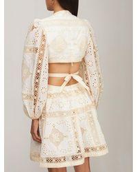 Zimmermann Короткое Платье Aliane С Вышивкой - Белый