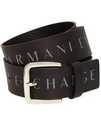 Armani Exchange Ceinture En Cuir Imprimé 4 Cm - Noir