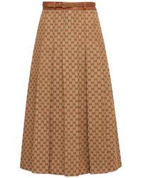 Gucci Gg ライトリネンブレンドキャンバススカート - マルチカラー