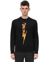 Neil Barrett Sweatshirt Aus Viskose Mit Druck - Schwarz