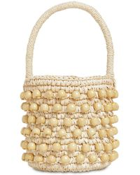 Sensi Studio Mini Bucket Bag W/ Wooden Beads - Natural