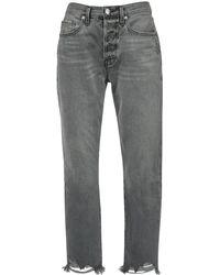 """FRAME Jeans Vita Alta """"le Original Crop"""" In Denim - Grigio"""