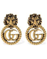 Gucci Bague tête de lion avec Double G - Métallisé