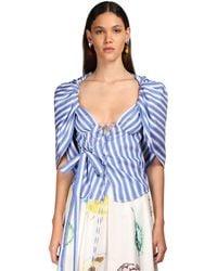 Rosie Assoulin Striped Cotton Wrap Top - Blue