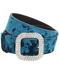 KATE CATE Crystal Buckle High Waist Velvet Belt - Blue