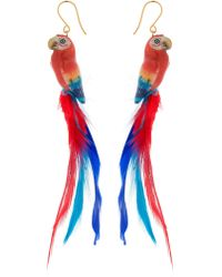 Nach - Red Parrot Earrings With Feathers - Lyst