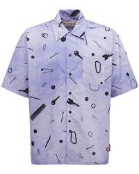 Marni Рубашка Из Хлопка Поплин - Синий
