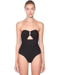 Self-Portrait Textured One Piece Swimsuit - Black
