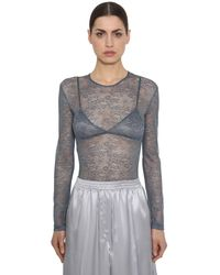 Nina Ricci Lace Stretch Sheer Bodysuit - Gray