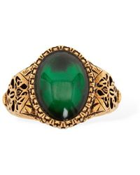 Alexander McQueen Seal Thick Ring - Green
