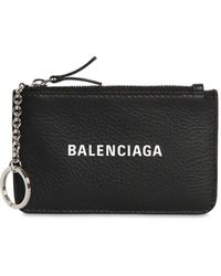 Balenciaga Logo Printed Grained Leather Key Wallet - Black