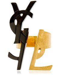 Saint Laurent - Two Tone Monogram Ring - Lyst