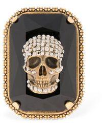 Alexander McQueen Gemstone Skull Ring - Metallic