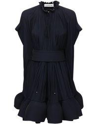 Lanvin フリルケープミニドレス - ブルー