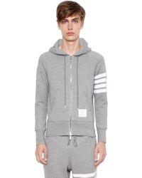 Thom Browne - Intarsia Stripe Hooded Cotton Sweatshirt - Lyst