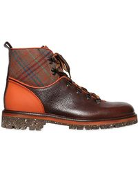 Etro - Plaid & Leather Hiking Boots - Lyst