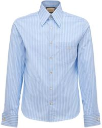 Gucci Camisa De Algodón Con Doble G - Azul