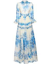 Valentino Платье Из Шелковой Органзы С Принтом - Синий