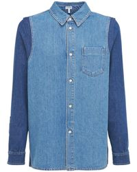 Loewe Zweifarbiges Oberhemd Aus Baumwolldenim - Blau
