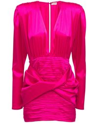 Magda Butrym Draped Silk Satin Mini Dress - Pink