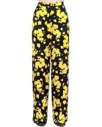 Rochas High Waist Floral Silk Satin Trousers - Yellow
