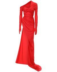 Balenciaga Top Asimmetrico Stretch Con Strascico - Rosso