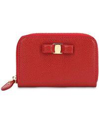 Ferragamo - Small Vara Leather Zip Around Wallet - Lyst
