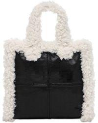 Stand Studio Sac cabas Lolita en peau lainée artificielle - Noir