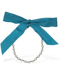 Moschino Imitation Pearl & Rayon Necklace - Blue