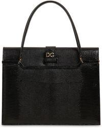 Dolce & Gabbana Ingrid イグアナ柄エンボスレザーバッグ - ブラック