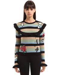 Valentino - Embroidered Wool Sweater - Lyst