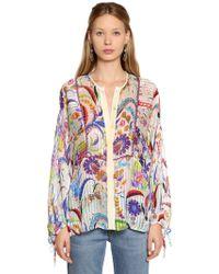 Etro - Floral Printed Silk Georgette Shirt - Lyst