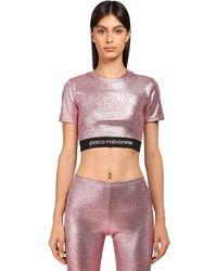 Paco Rabanne Stretch Lurex Jersey Crop Top - Pink