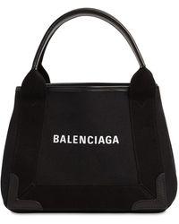 Balenciaga Xs Navy Cabas Canvas Bag - Black