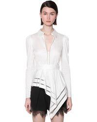 Self-Portrait Cotton Poplin Peplum Shirt - White