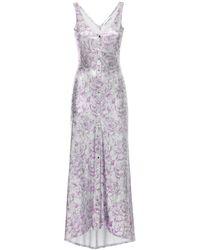 Paco Rabanne Платье Из Вискозы С Цветочным Принтом - Пурпурный