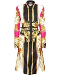 Versace Baroque Print Silk Twill Mini Dress - Multicolor