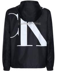 Calvin Klein ナイロンジップアップジャケット - ブラック