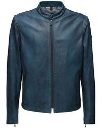 Belstaff Reeve Leather Jacket - Blue