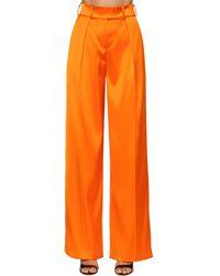 Alexandre Vauthier Атласные Брюки С Высокой Посадкой - Оранжевый