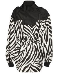 Redemption Athletix Zebra Print Nylon Parka - Black