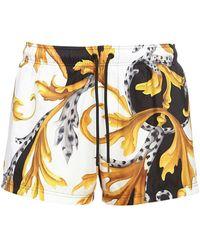 Versace Badeshorts mit Greca-Bund - Weiß