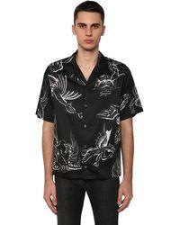 Givenchy Chemise en coton à imprimé dragon - Noir