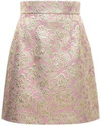 Dolce & Gabbana ジャカードラメミニスカート - ピンク